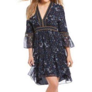 Chelsea & Violet Floral Bell Sleeve Boho Dress XS